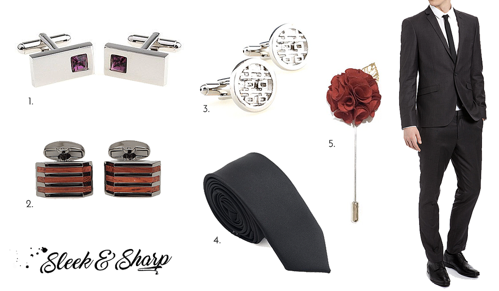 Sleek and Sharp Wedding Cufflinks and Accessories