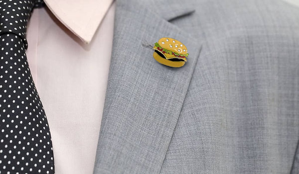 Lapel Pins and Boutonnieres - Burger Enamel Pin