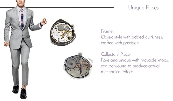 Unique Faces Watch Movement Cufflinks
