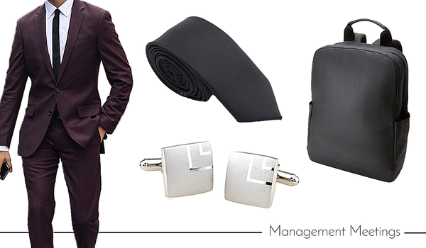 Cufflink, Tie and Back Pack Set for Work