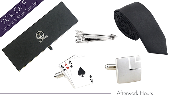 Limited Edition Cufflink, Tie and Tie Clip Combo Set