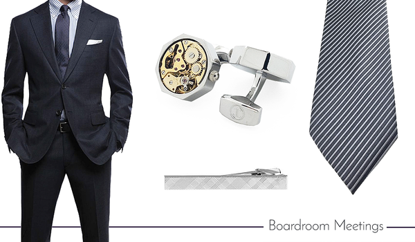 Cufflink, Tie and Tie Clip Set for Work