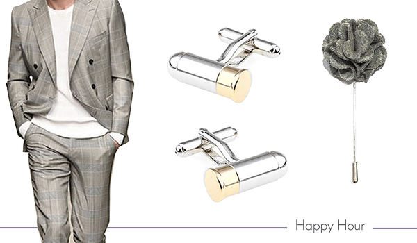 Cufflink and Boutonniere Set for Happy Hour