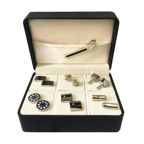 6 pair Cufflink and Tie Clip Combo Set