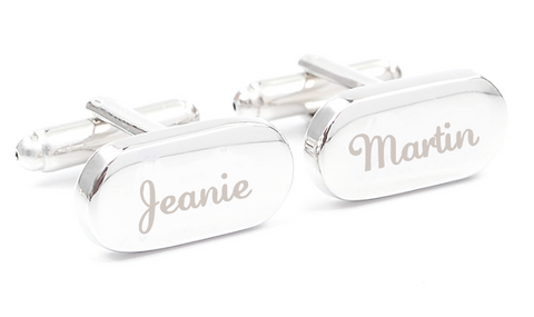 Silver custom engraved cufflinks - Jeanette