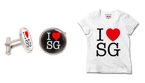 Singapore Cufflinks Collection - I Love SG