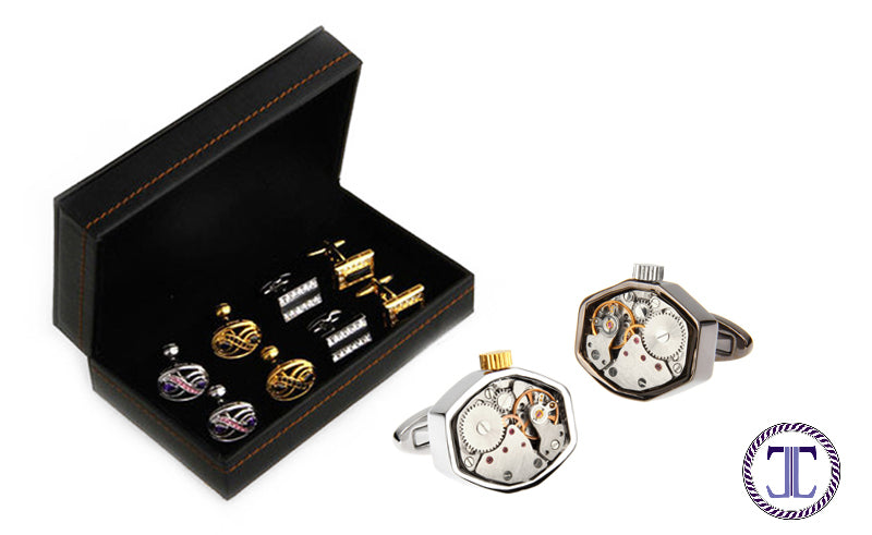 Watch Movement Cufflinks and Cufflink Box