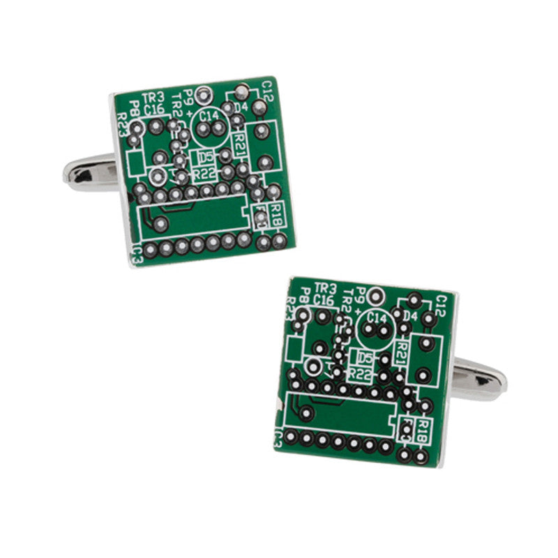 Silver and Green Geek Cufflinks - Microchip