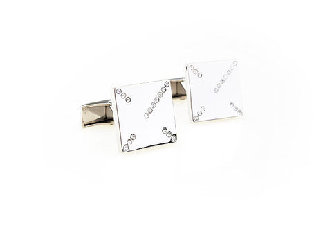 Classic Cufflinks - Silver Classic Square Crystal Cufflinks - Crossroads - The Little Link