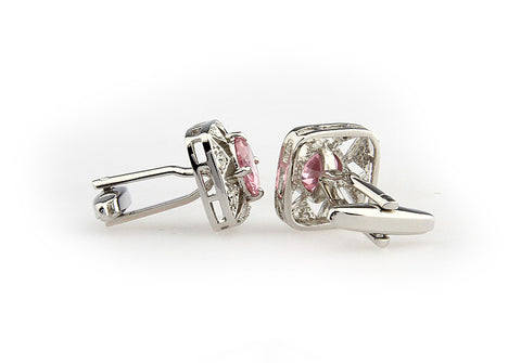Silver and Pink Intricate Crystal Cufflinks - Princess