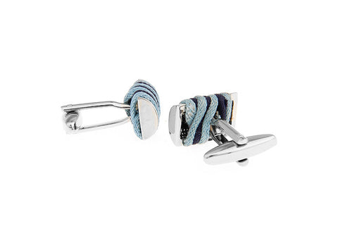 Blue Woven Rectangle Cufflinks - Linen