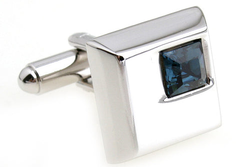 SIlver and Blue Square Crystal Cufflinks - I Spy