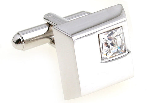 Silver Square Crystal Cufflinks - Crystalline