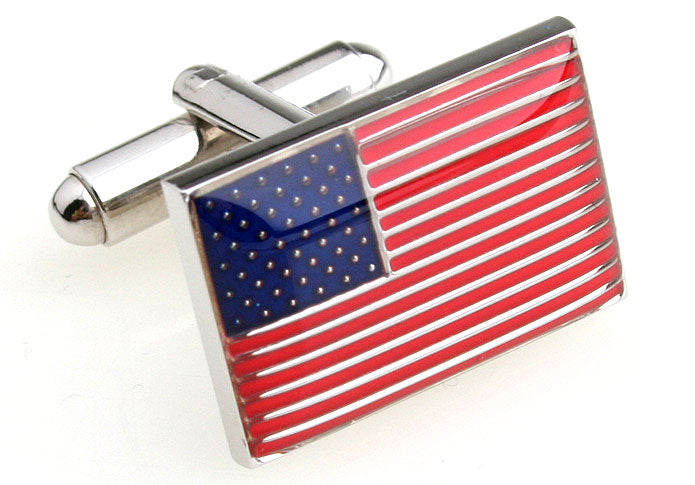 Red and Blue Flag Cufflinks - USA Flag