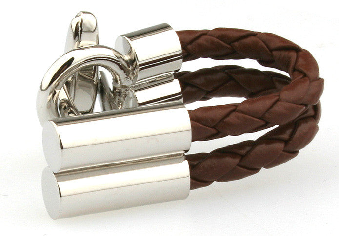 Brown and Silver Woven Cufflinks - Roped In (Brown)