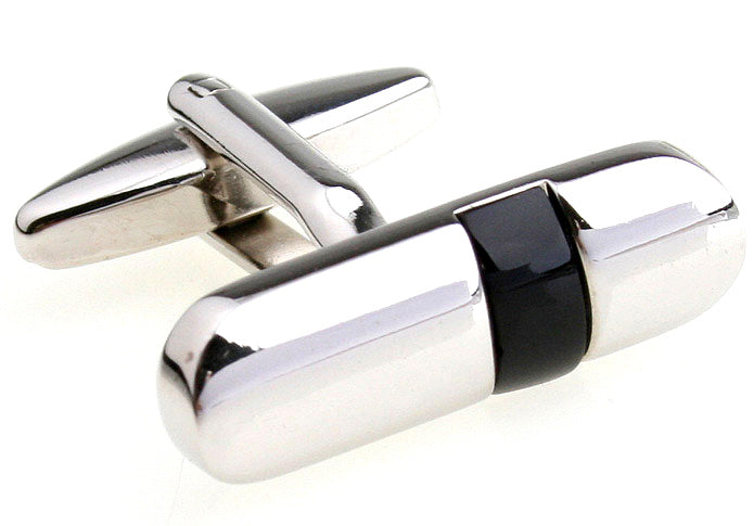 Classic Cufflinks - Black and Silver Classic Cufflinks - Bulletin - The Little Link