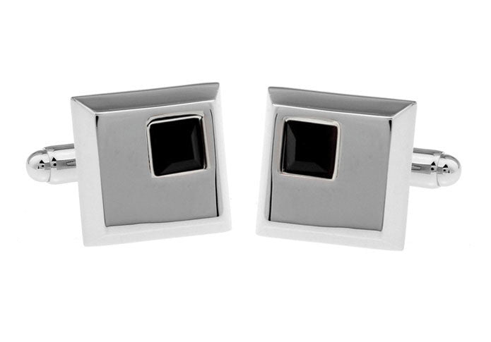 Silver and Black Square Crystal Cufflinks - Ebony