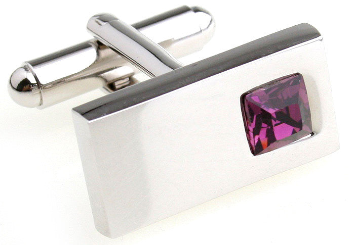 Silver and Red Rectangle Crystal Cufflinks - Red Bling