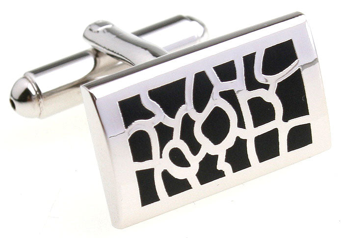 Silver and Black Classic Cufflink - Sophistication