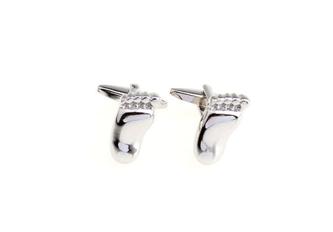 Novelty Cufflinks - Silver Novelty Cufflinks - Big Foot - The Little Link