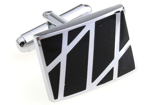 Black and Silver Classic Square Cufflinks - Zigzag