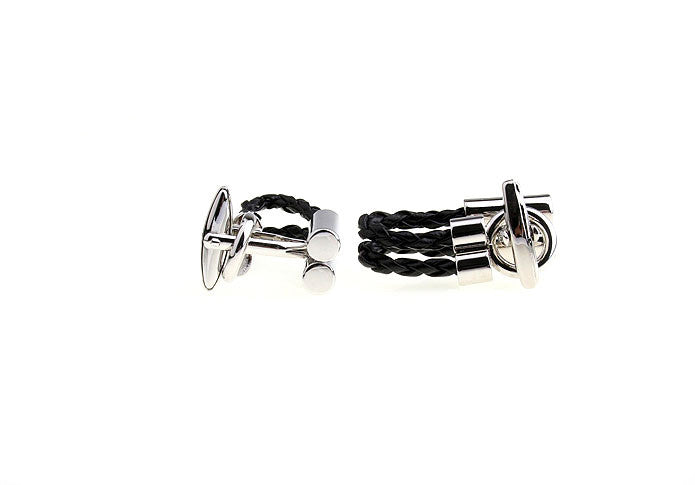 Novelty Cufflinks - Roped In (Black) - The Little Link