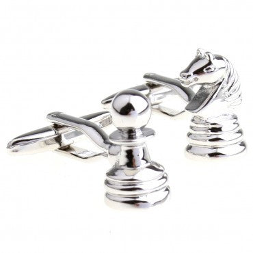 Novelty Cufflinks - Silver Geek Cufflinks - Chess - The Little Link