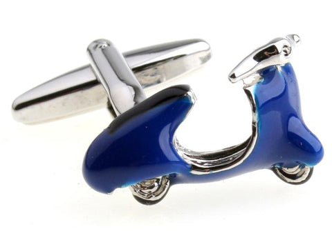Blue Automotive Cufflinks - Vespa Scooter (Blue) - Hipster - Vintage