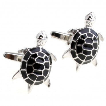Black and Silver Animal Cufflinks - Tortoise - Longevity