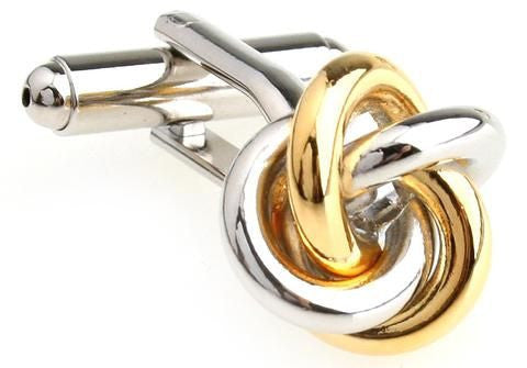 Silver and Gold Classic Knot Cufflinks - Interlocked