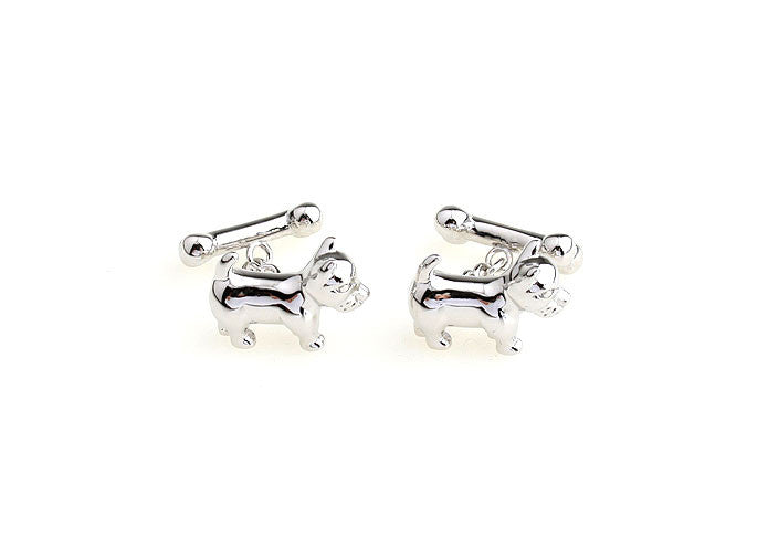 Silver Animal Cufflinks - Puppy Love