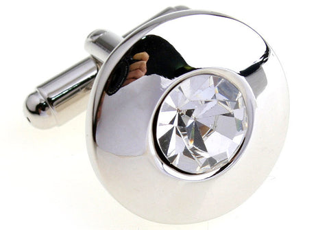Silver Oval Crystal Cufflinks - Diamond Topaz (Silver)