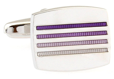 Silver and Purple Stripe Cufflinks - Gradient