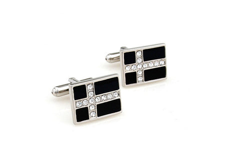 Silver and Black Rectangle Cufflinks - Crystal Crosses