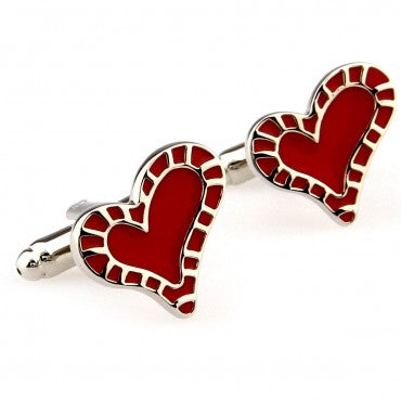 Red and Silver Love Cufflinks - Full Hearts