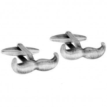 Silver Novelty Cufflinks - Grandpa Moustache