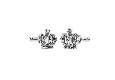Silver Novelty Crystal Cufflinks - Crown Jewels