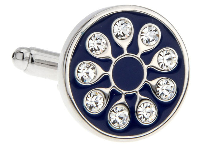 Blue Round Classic Cufflinks - Crystal Floral