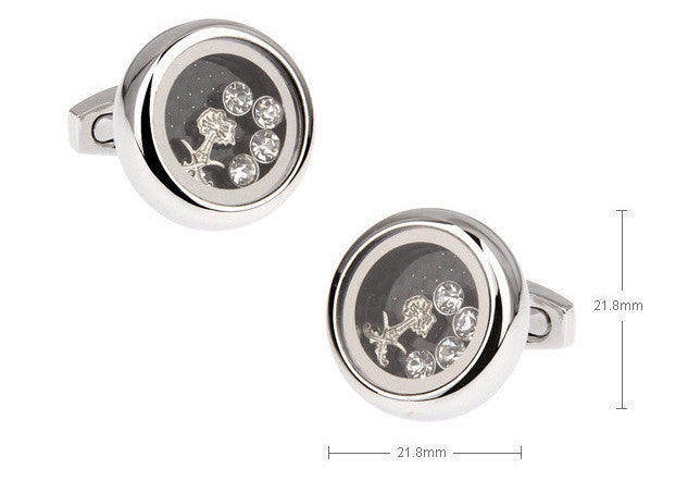 Classic Cufflinks - Silver Crystal Cufflinks - Angel Quartz - The Little Link