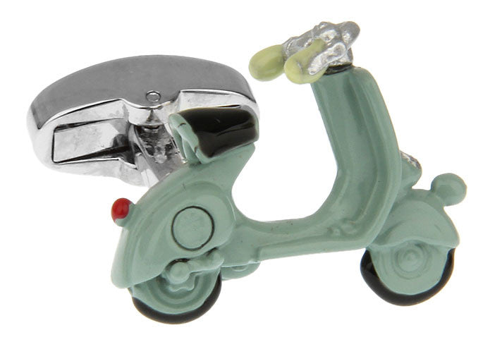 Green Automotive Cufflinks - Vespa Scooter (Green) - Hipster - Vintage