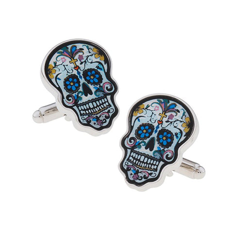 Colorful Novelty Cufflinks - Day Of the Dead Skull
