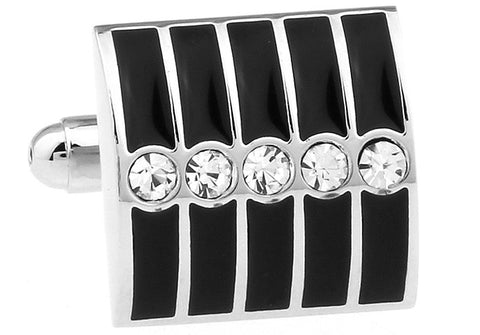 Black and Silver Square Crystal Cufflinks - Five Senses