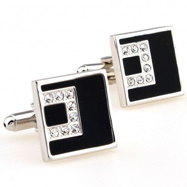 Classic Cufflinks - Black and Silver Square Crystal Cufflinks - C Level - The Little Link