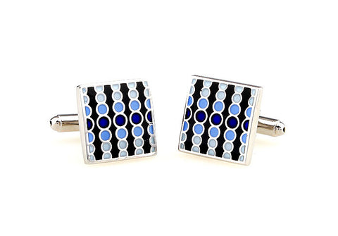 Classic Cufflinks - Blue and Black Polka Dot Square Cufflinks - Blue Rain - The Little Link