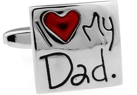 Silver Square Classic Cufflinks - I Love My Dad