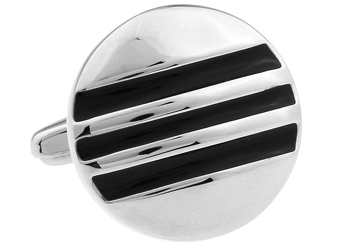 Silver and Black Round Classic Cufflinks - Treble