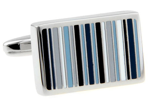 Classic Cufflinks - Blue Classic Stripe Rectangle Cufflinks - Bars of Blue - The Little Link