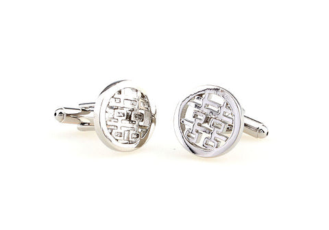 Silver Wedding Cufflinks - Double Happiness