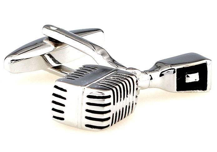 Silver and Black Music Cufflinks - Singer Mic