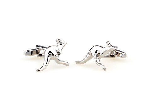 Silver Animal Cufflinks - Kangaroo